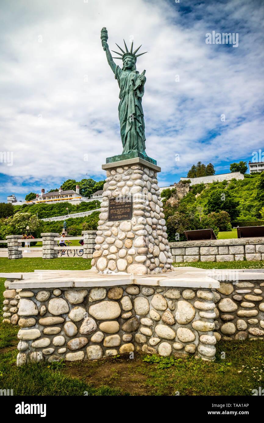 Mackinac Island, MI, USA - June 23, 2018: The Boy Scouts of America monument - Stock Image