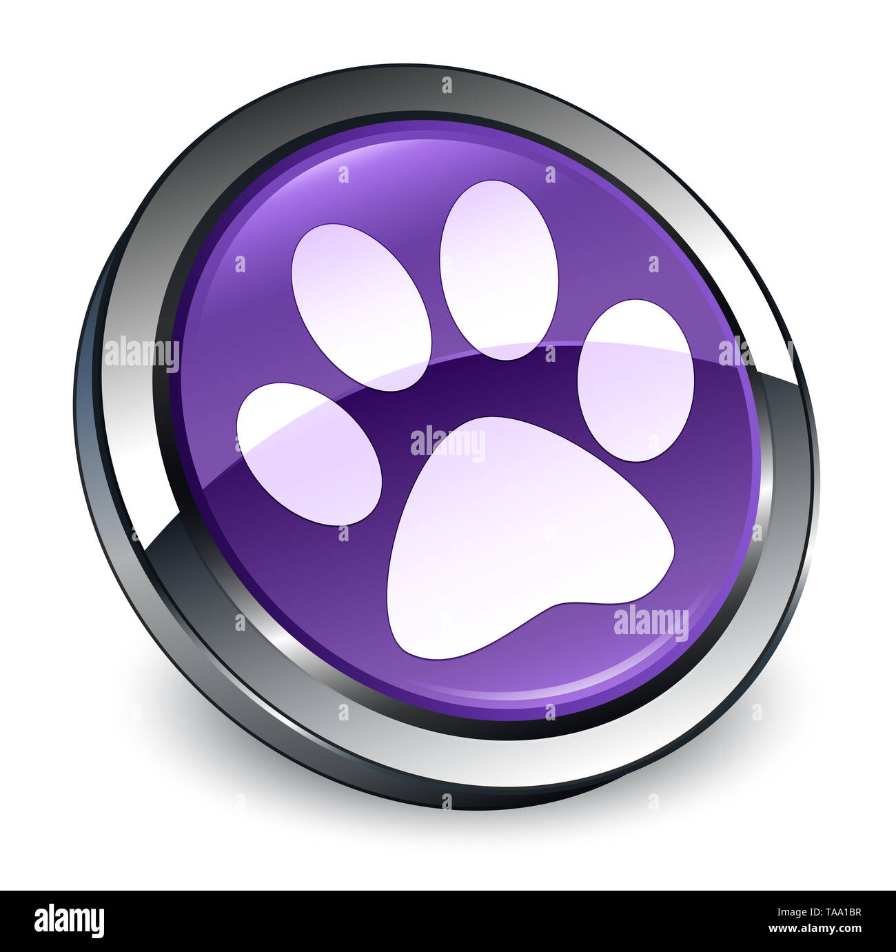 Animal footprint icon isolated on 3d purple round button abstract illustration - Stock Image