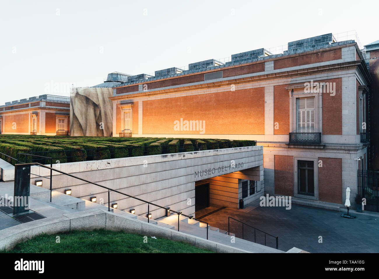 Madrid, Spain - April 14, 2019: View of Prado Museum in Madrid at sunset. It is the main Spanish national art museum Stock Photo