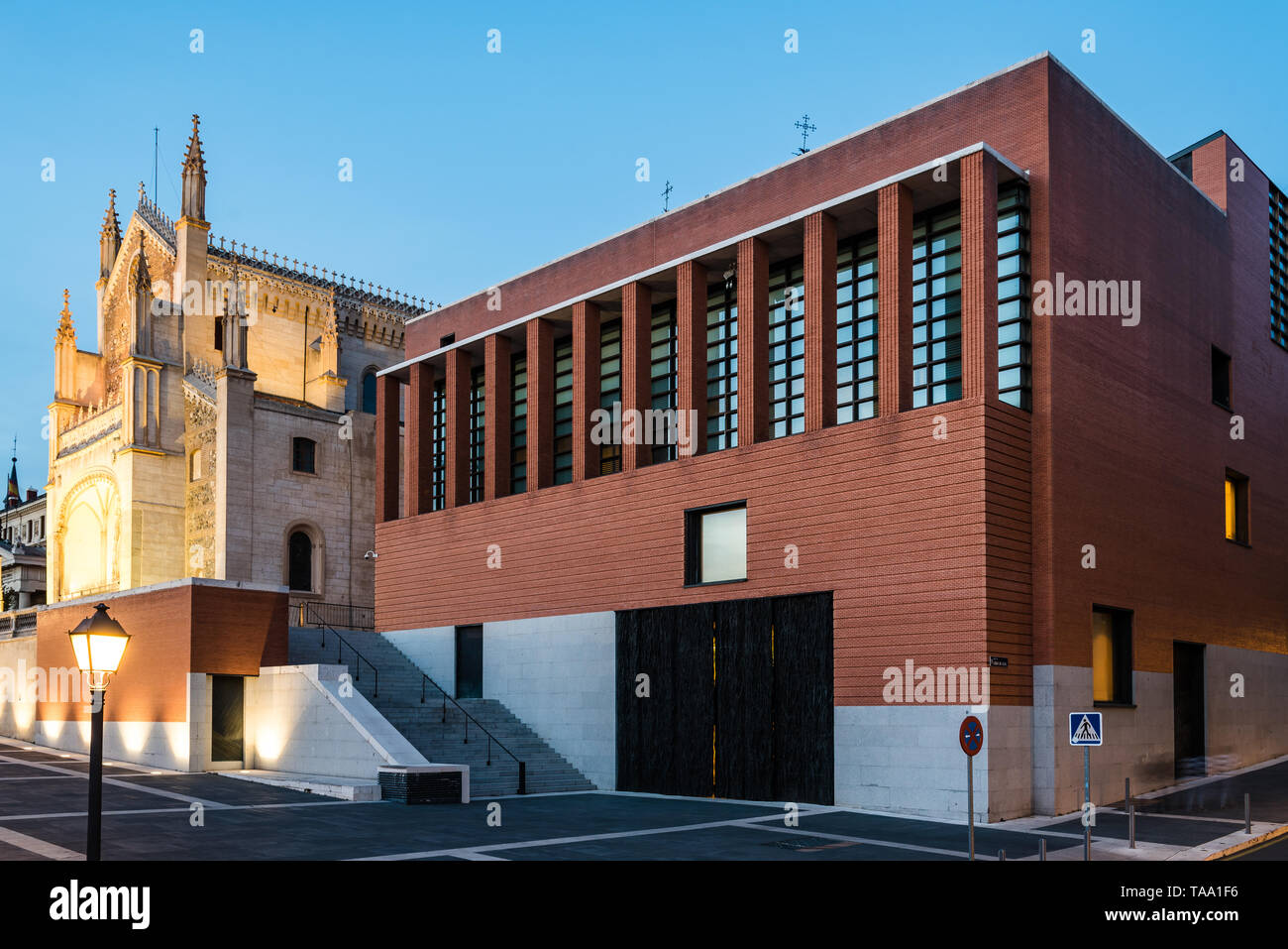 Madrid, Spain - April 14, 2019: View of Jeronimos church and Prado Museum in Madrid at sunset. It is the main Spanish national art museum Stock Photo