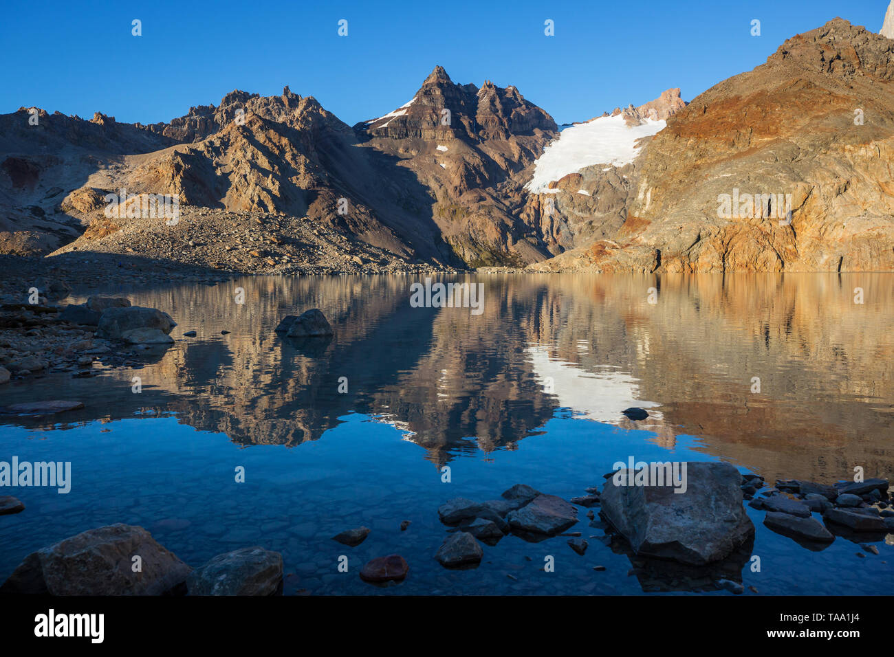 Beautiful mountain landscapes in Patagonia. Mountains lake in Argentina, South America. - Stock Image