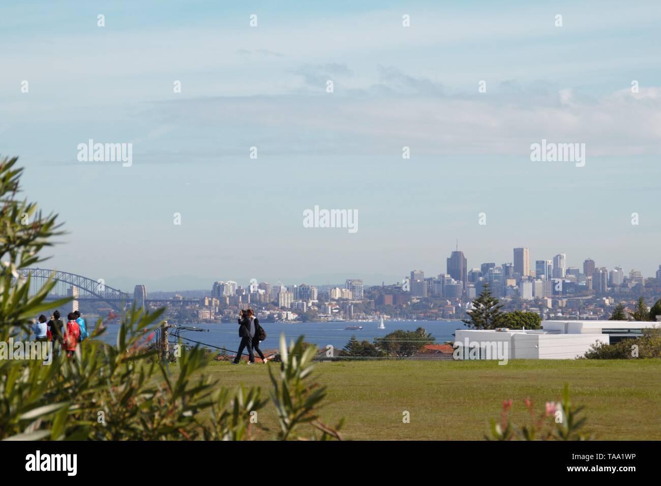 Wonderful skyline of Sydney in Australia from a park a bit far away - Stock Image