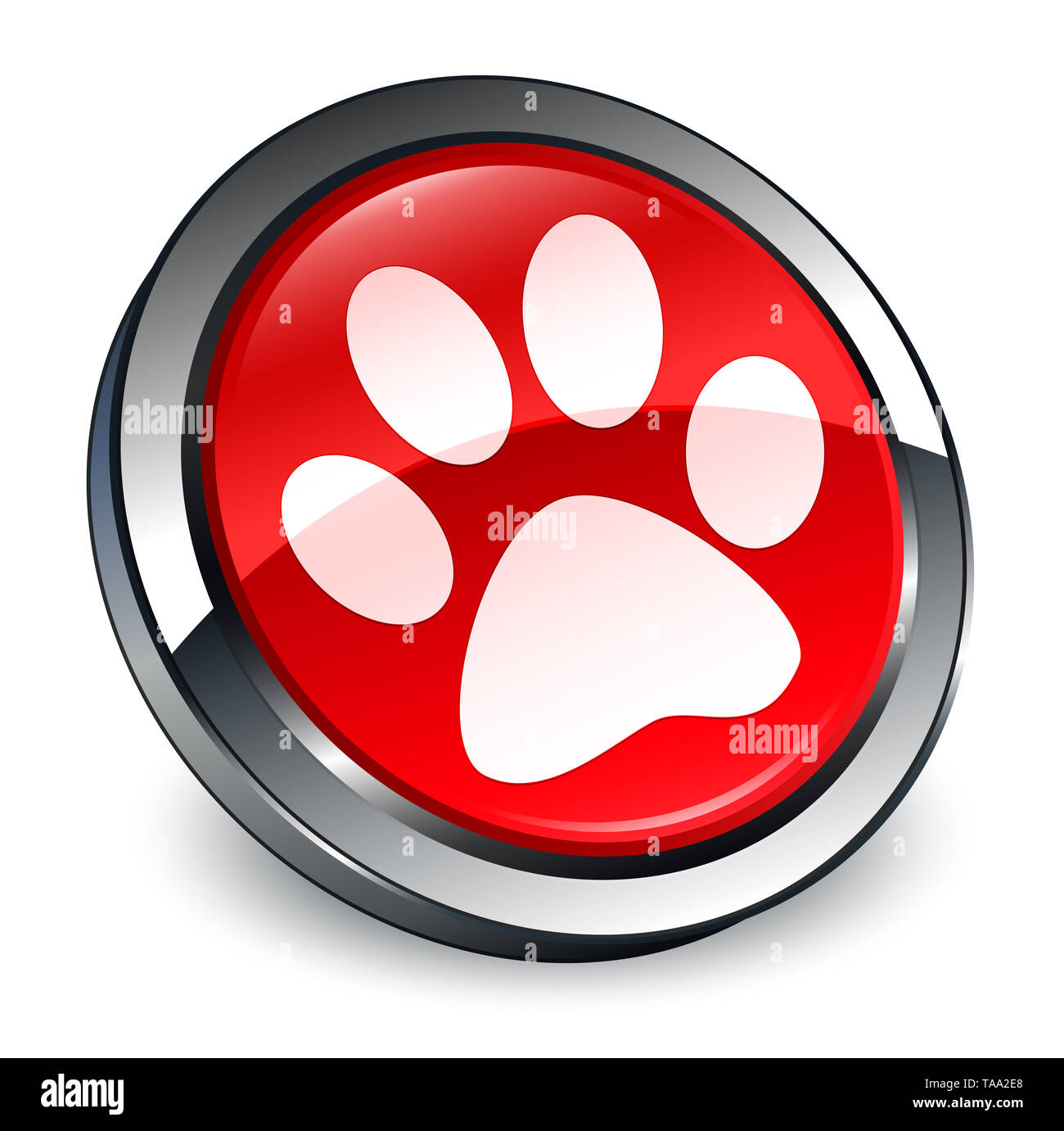 Animal footprint icon isolated on 3d red round button abstract illustration - Stock Image