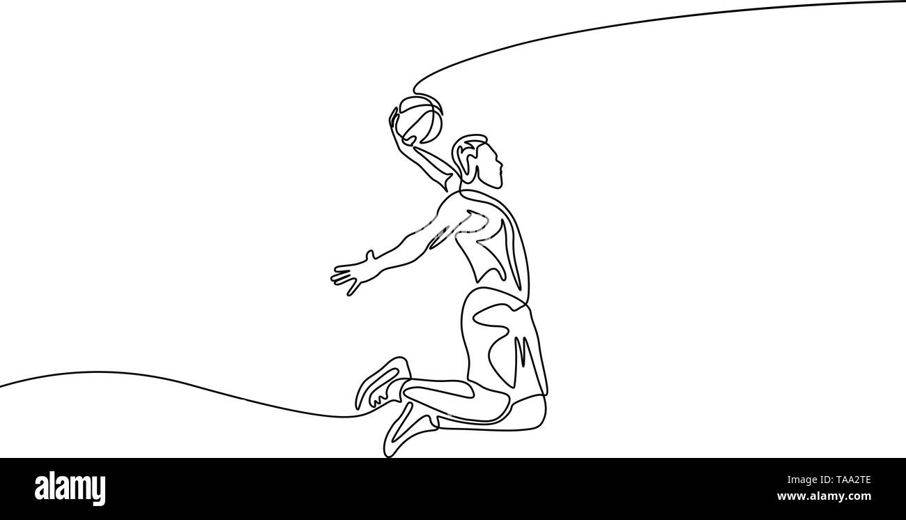 Continuous one line drawing basketball player doing slam dunk - Stock Image