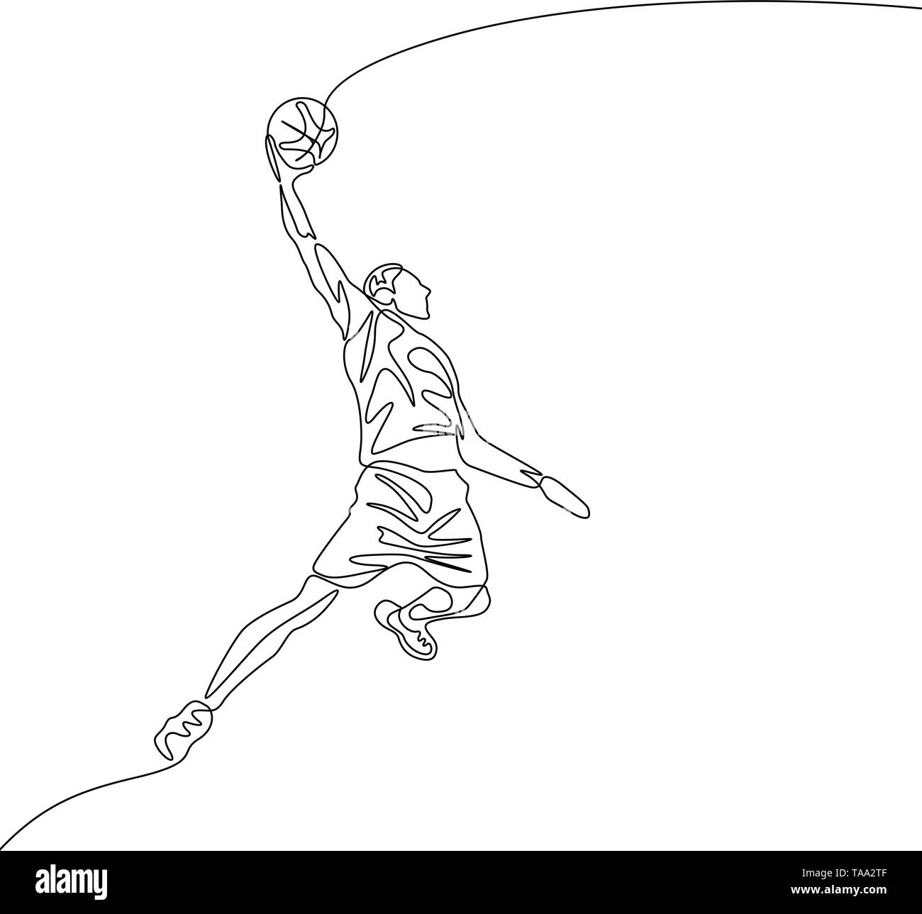 Continuous one line drawing basketball player jumps doing slam dunk - Stock Image