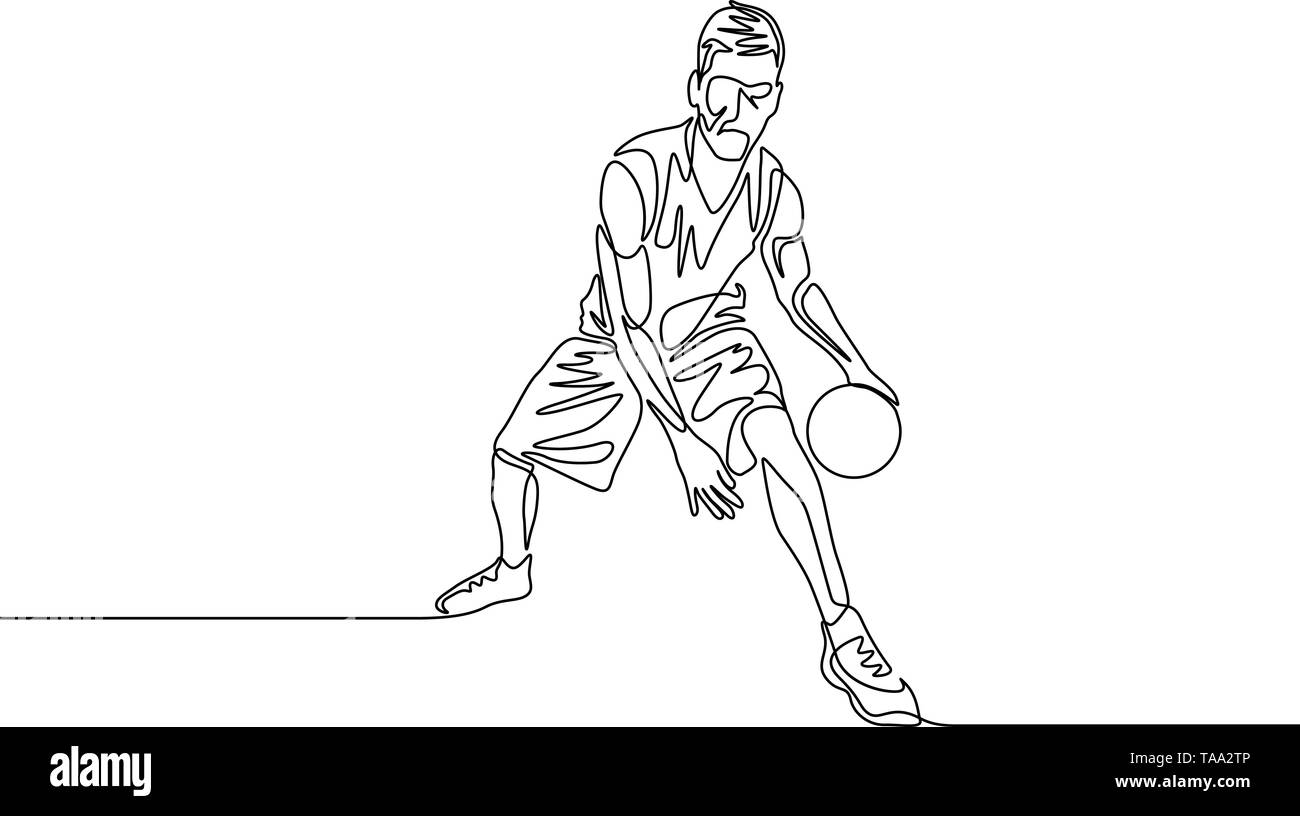 Continuous one line drawing basketball player dribbling passes the ball between his legs - Stock Image