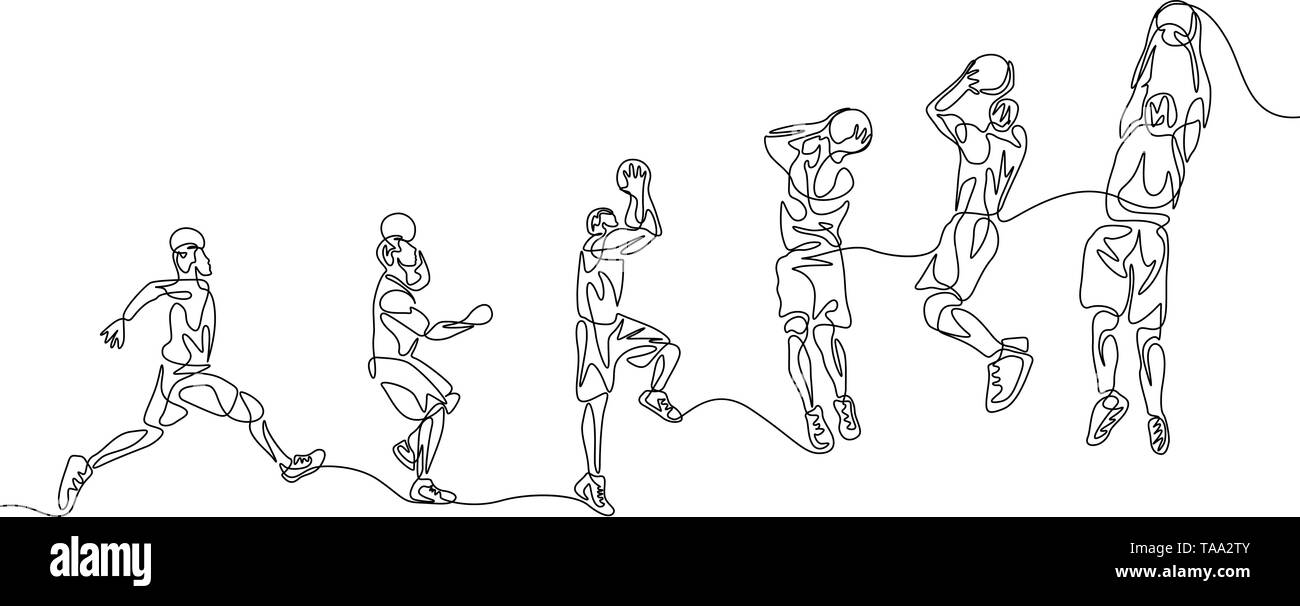 Continuous line basketball player step by step doing slam dunk - Stock Image
