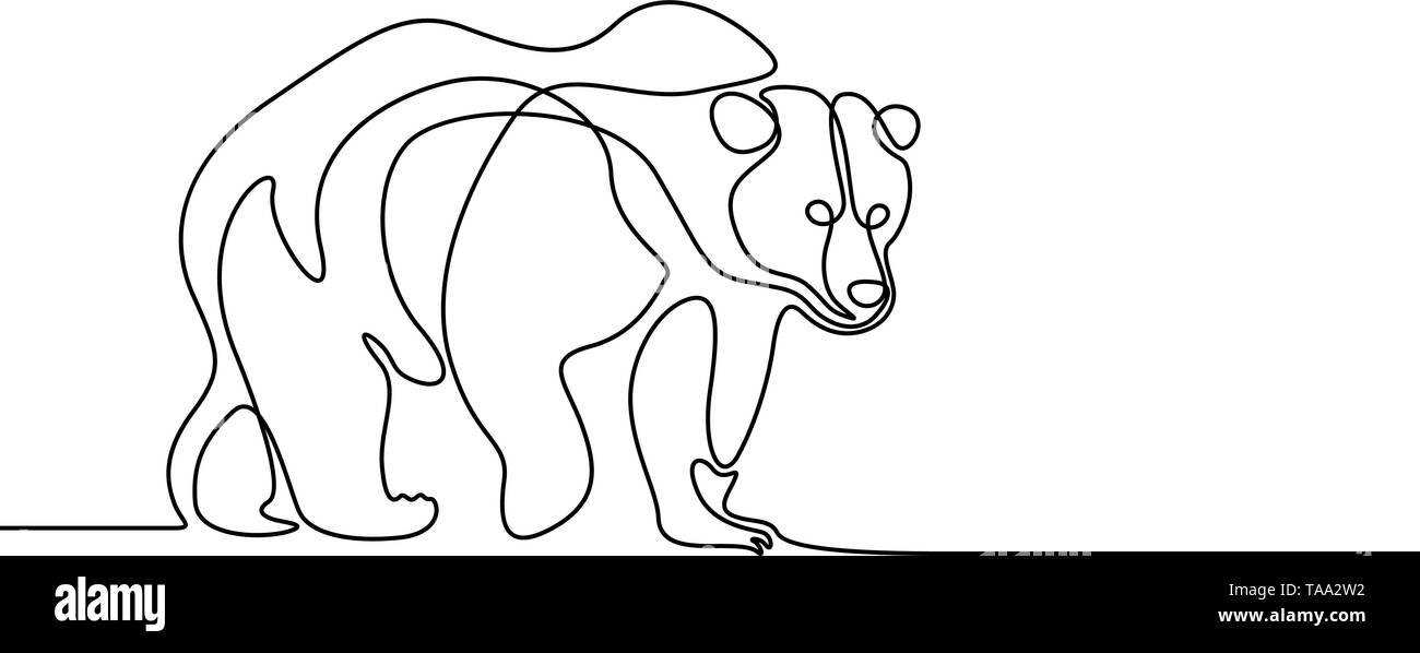 Continuous line going bear on white background Stock Vector