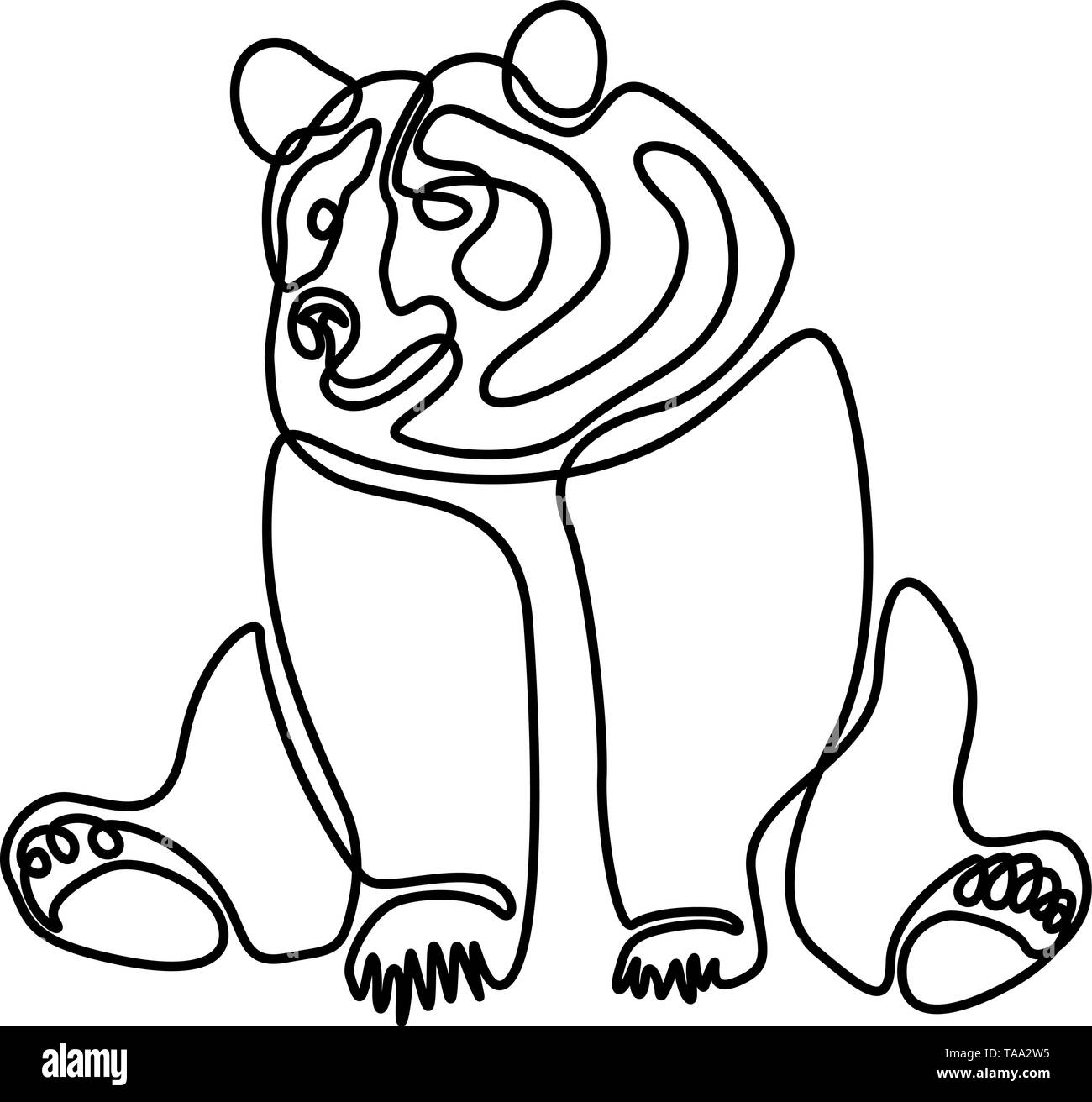 Continuous one line Sitting bear. Vector illustration. Stock Vector
