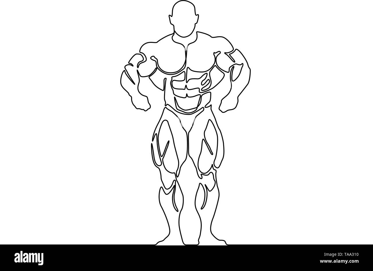 Continuous line bodybuilder. Vector illustration. - Stock Image