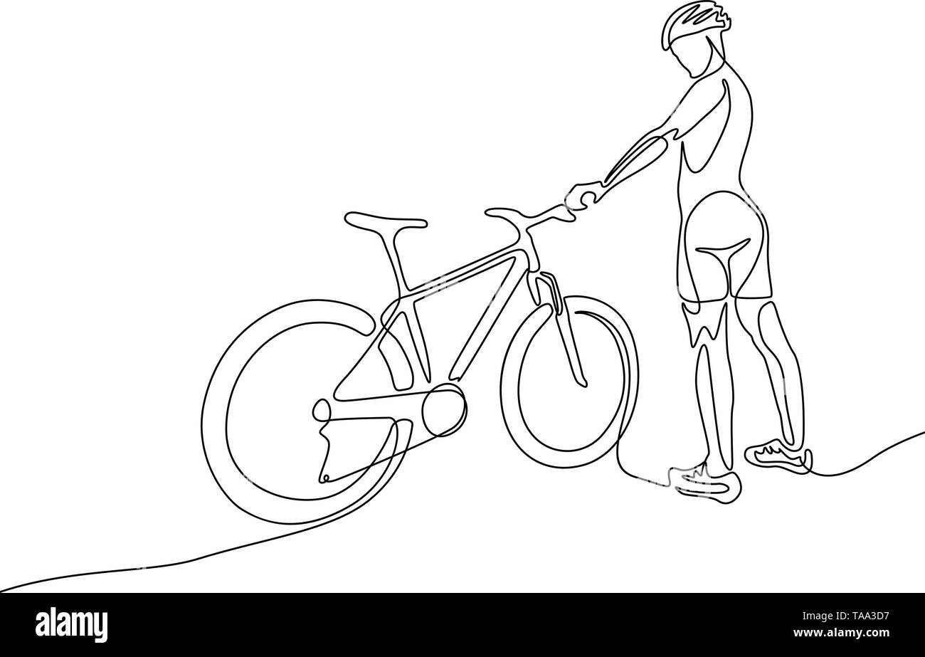 Continuous one line woman cyclist in a helmet stand with a bicycle - Stock Image