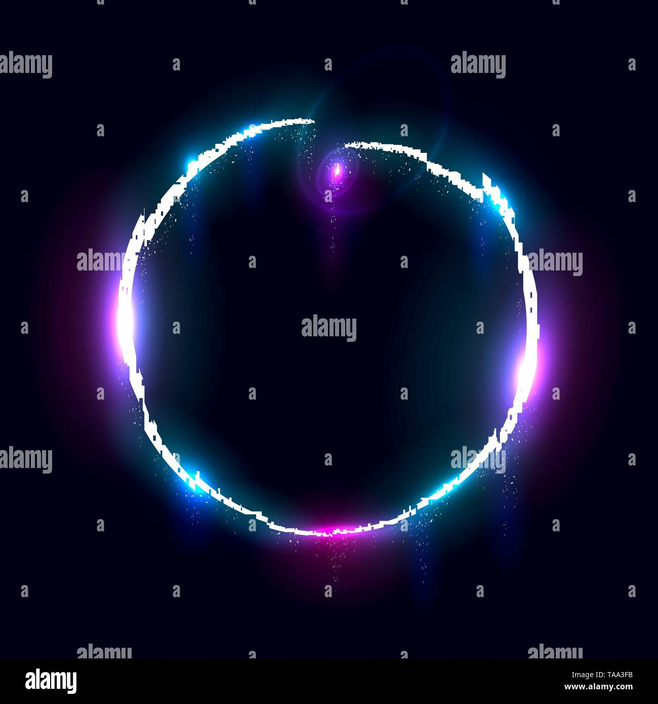 Illuminated collapsing circle, Design element for banner, flyer, card, poster. - Stock Image