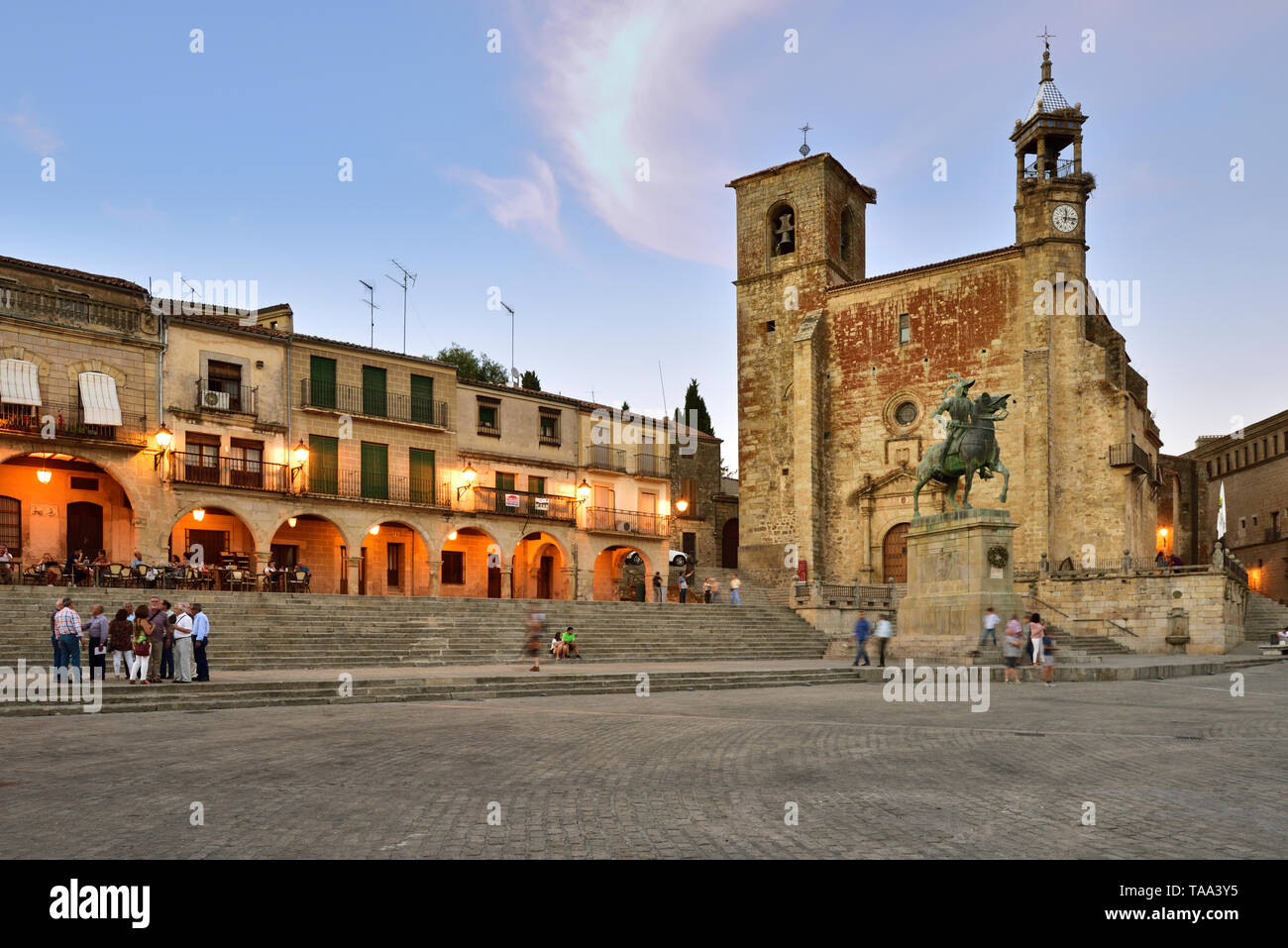 The Plaza Mayor in the evening with San Martin church. Trujillo, Spain - Stock Image