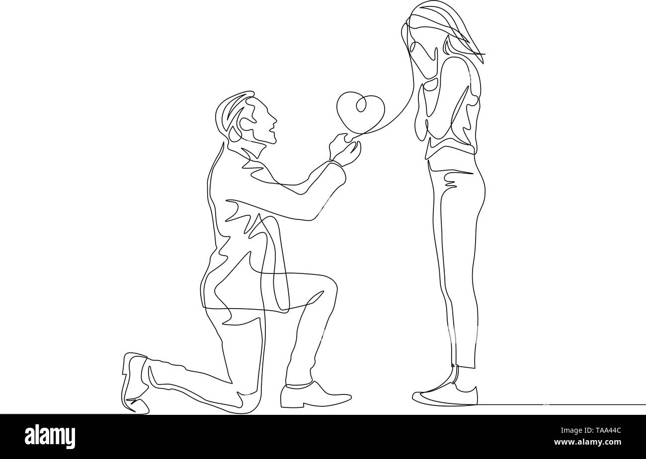 Continuous one line man make a marriage proposal on the knee - Stock Vector