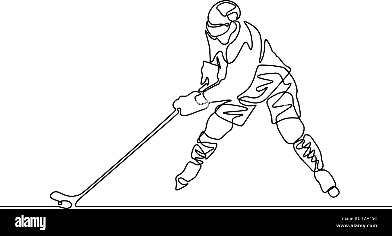 Continuous one line Hockey player, vector illustration - Stock Image