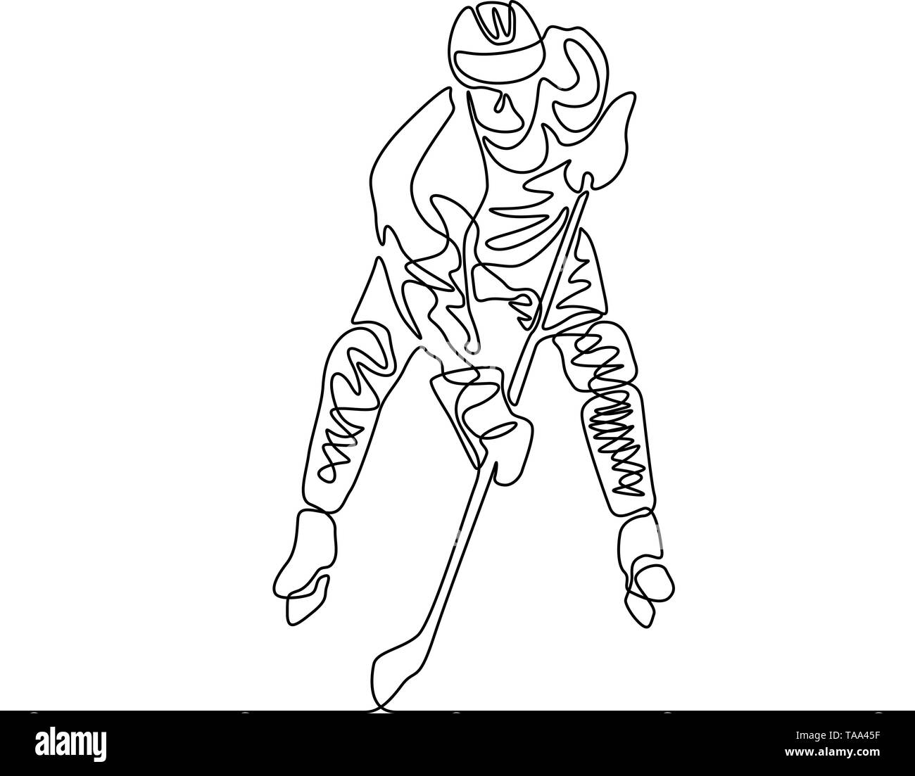 Continuous one line Hockey player, winter sport - Stock Image