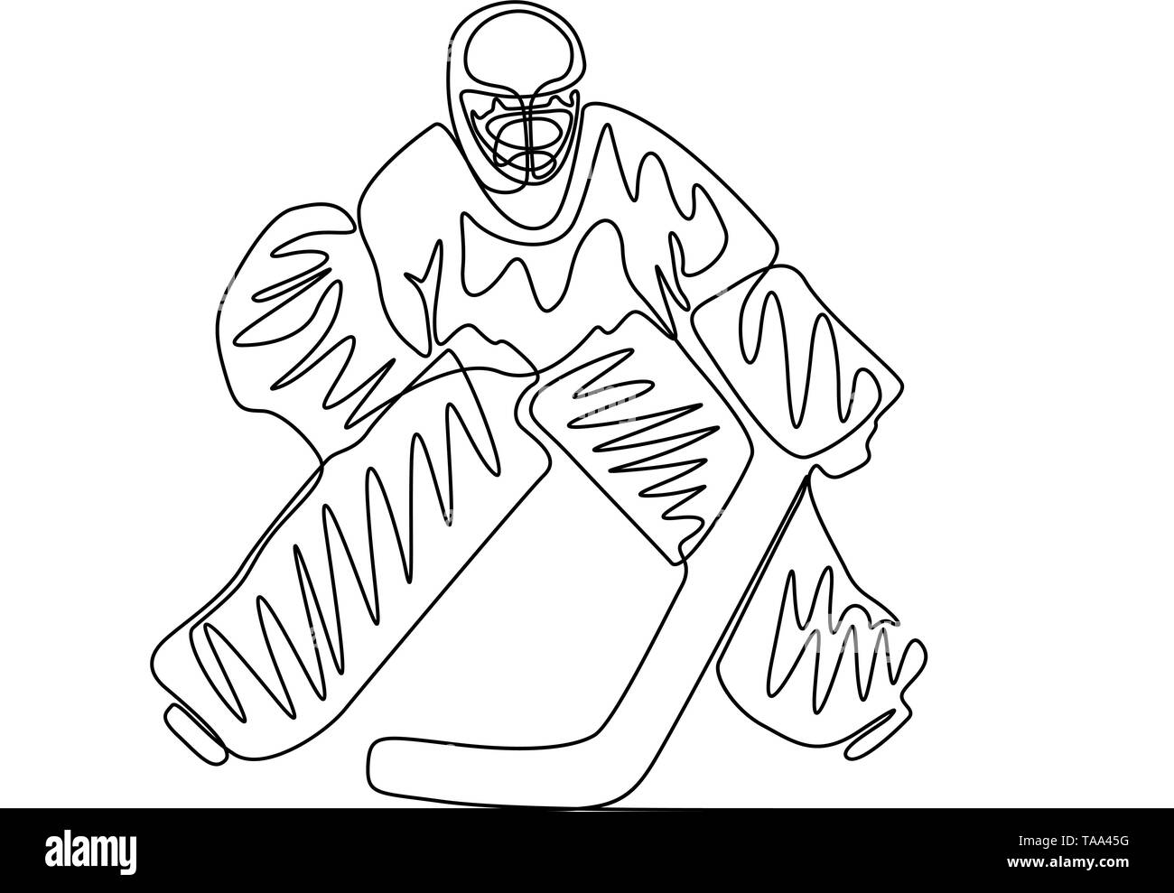 Continuous one line Hockey goalkeeper, winter sport - Stock Image