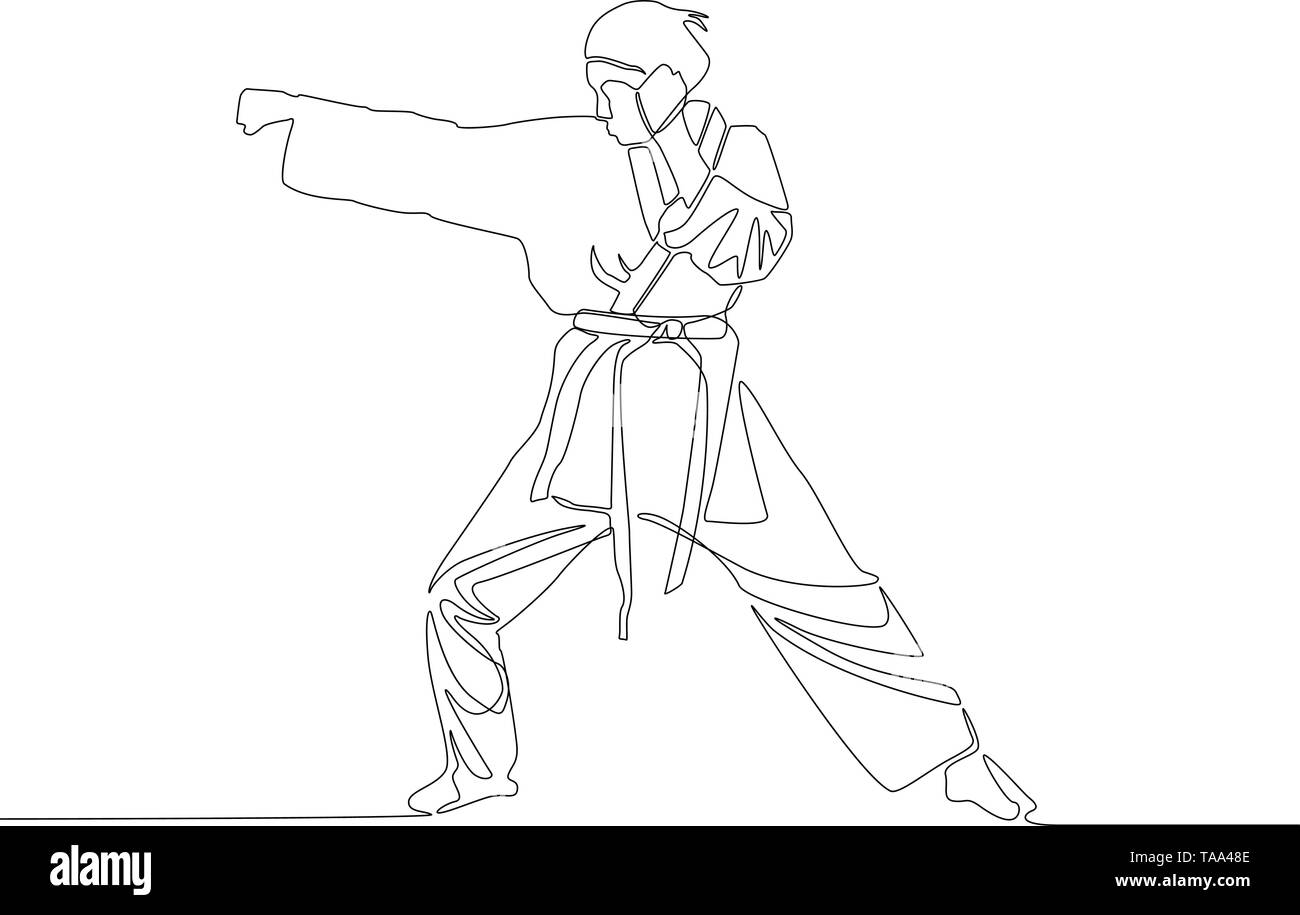 Continuous line drawing Karate girl makes a punch. Vector illustration. - Stock Image