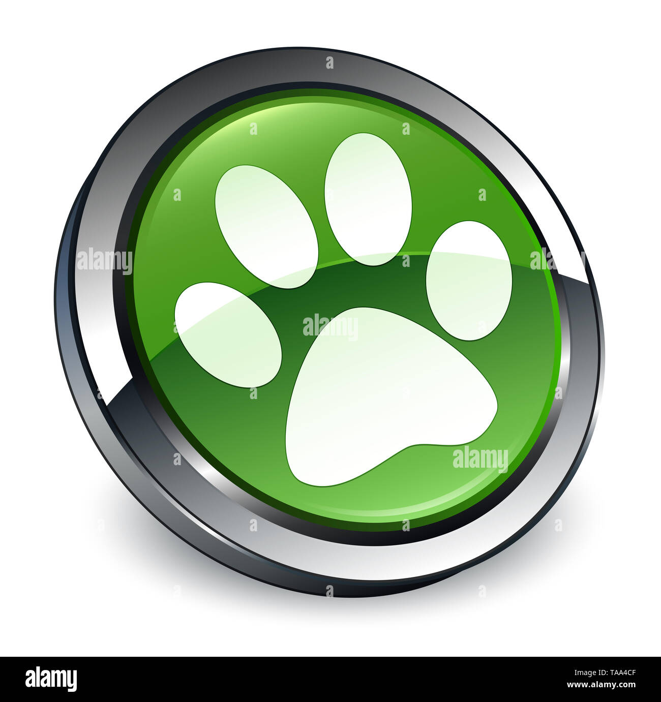 Animal footprint icon isolated on 3d soft green round button abstract illustration - Stock Image