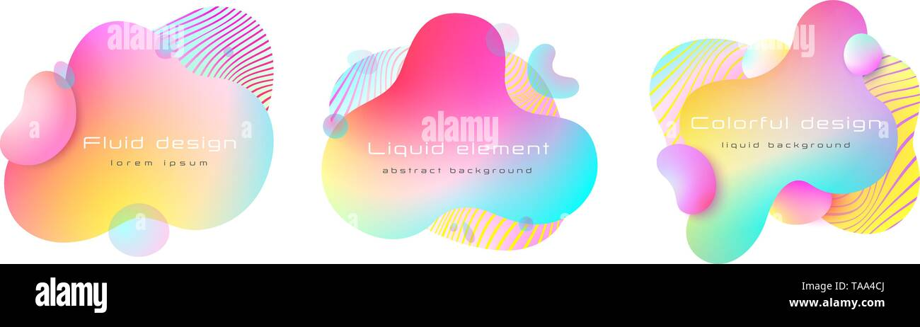 Futuristic colorful abstract liquid element set. Dynamical colored forms and line. Abstract background. Vector, EPS 10. - Stock Vector