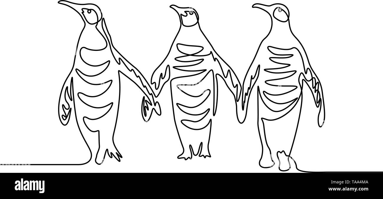 Continuous line drawing Three penguins. Group of penguins.  Stock Vector