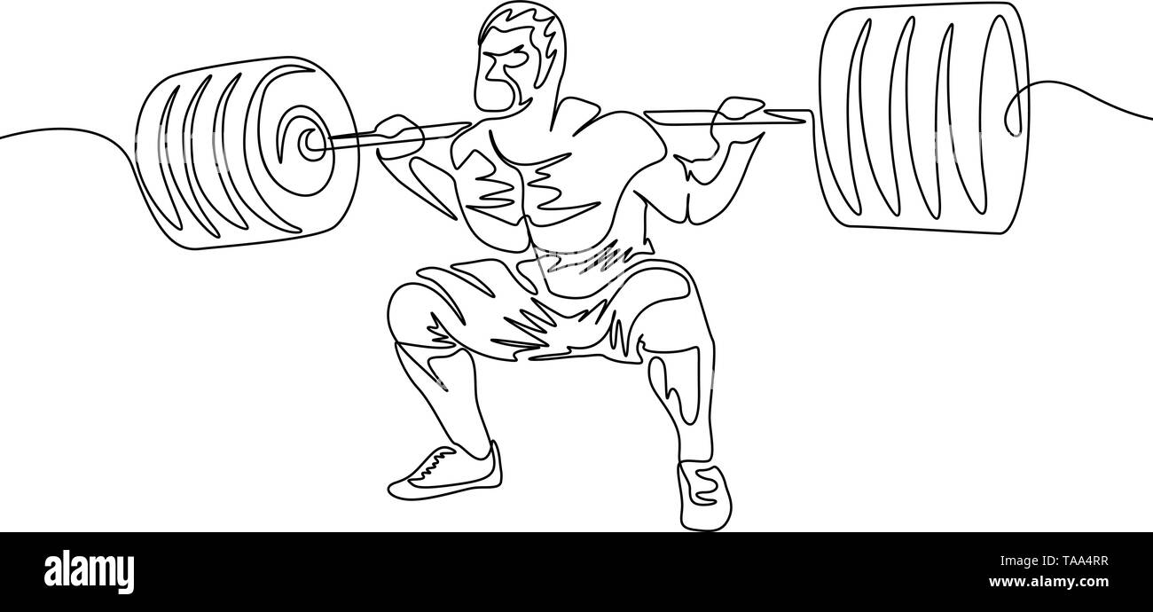 Continuous one line a man performs a squat with a heavy barbell - Stock Image