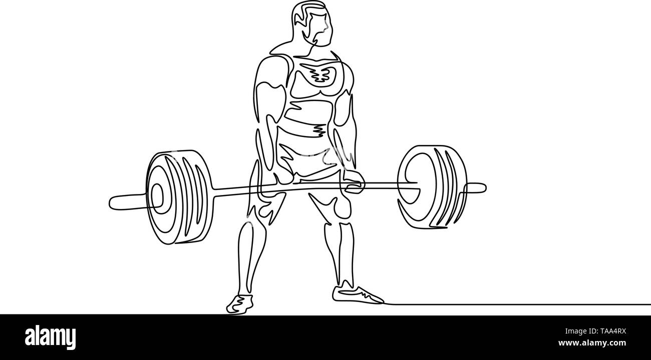 Continuous one line drawing athlete perform deadlift. Powerlifting, sport theme. - Stock Image