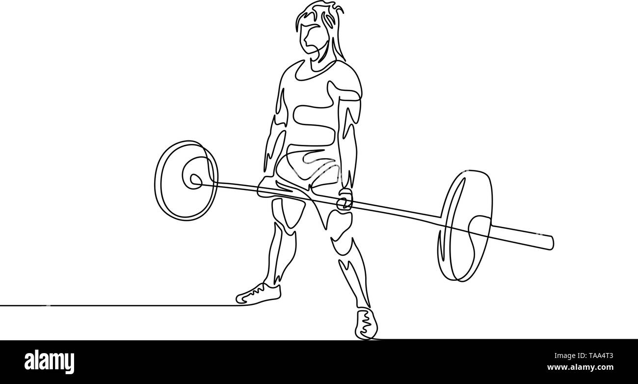 Continuous one line drawing powerlifter perform deadlift. Powerlifting, sport theme. - Stock Image