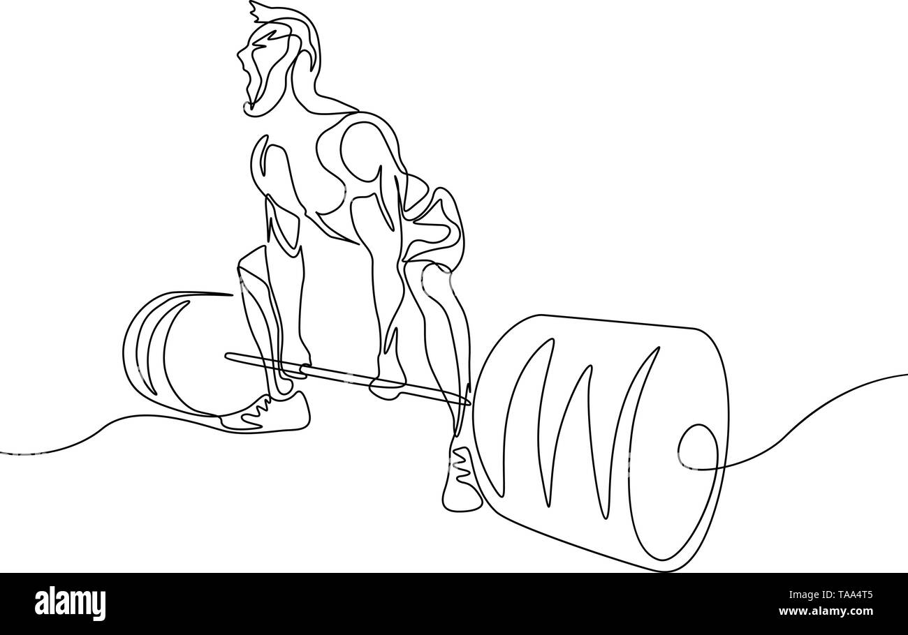 Continuous one line drawing bodybuilder perform deadlift. Powerlifting, sport theme. - Stock Image