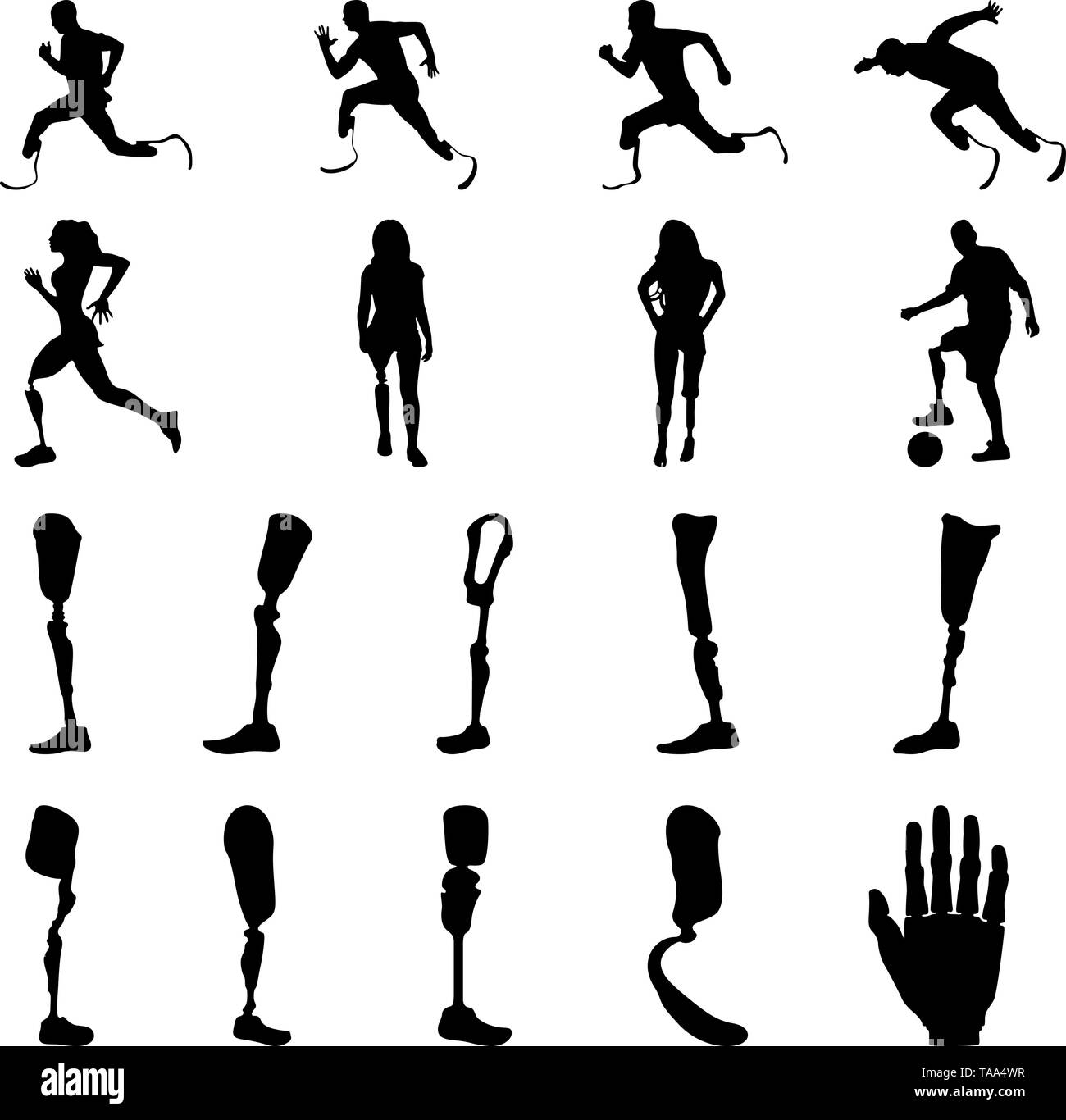 Silhouettes of amputee people with artificial limb. Silhouettes of prosthetic legs and arms. - Stock Image