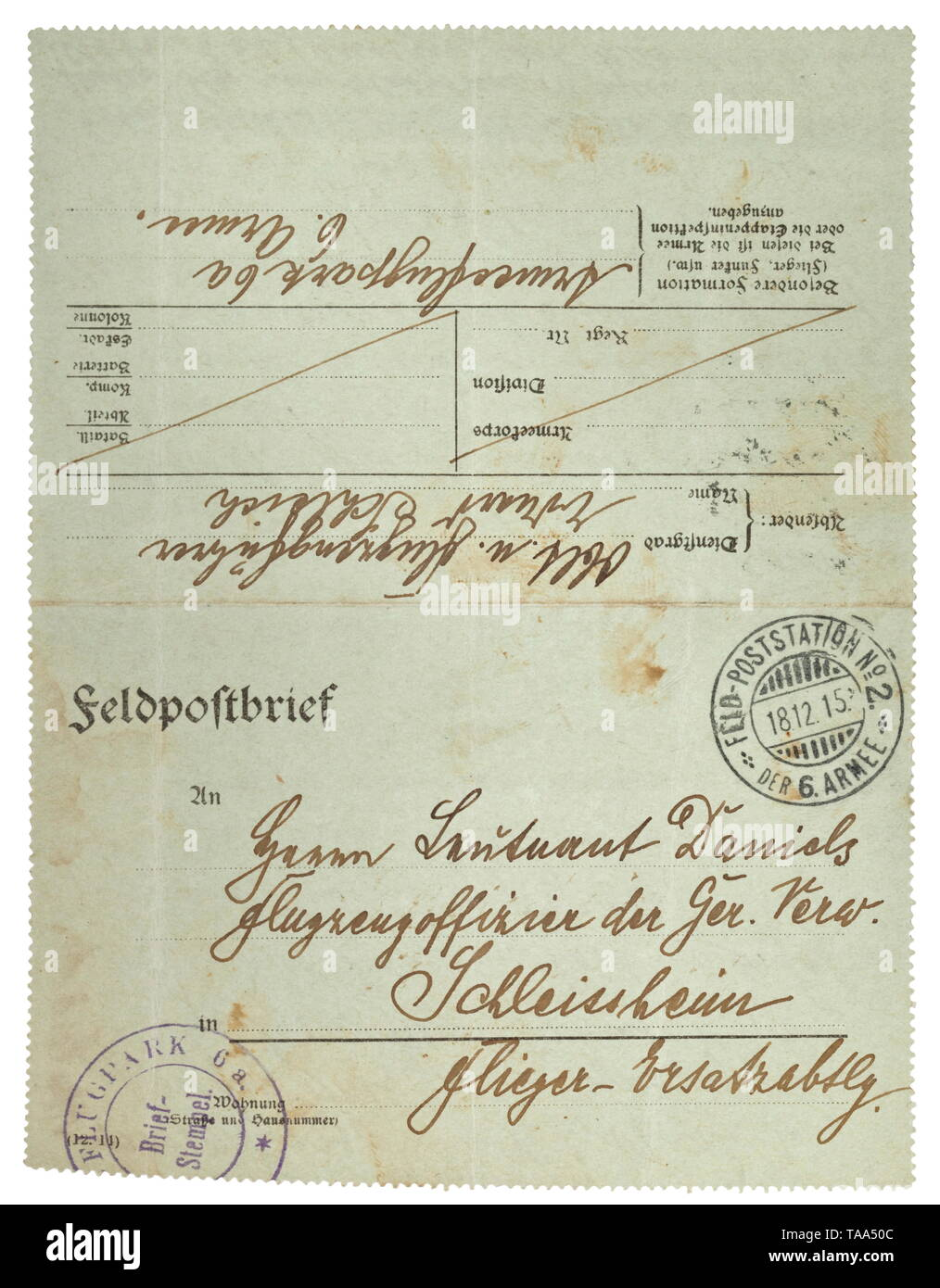 Eduard Ritter von Schleich (1888 - 1947) - a field post letter dated 1915 A letter written by the pilot Oberleutnant E. Schleich to the aircraft officer Daniels in the Aviator Replacement Detachment Schleißheim, dated 18 December 1915. Two pages written and signed in his own hand. Schleich complains that the winter equipment (he lists fur coats, boots, leather gear, fur hood) has not been issued and makes a requisition. Dimensions 12 x 16.5 cm, sent as field post. An officer and politician, Eduard Ritter von Schleich was a successful fighter pilot during World War I with 35, Editorial-Use-Only - Stock Image