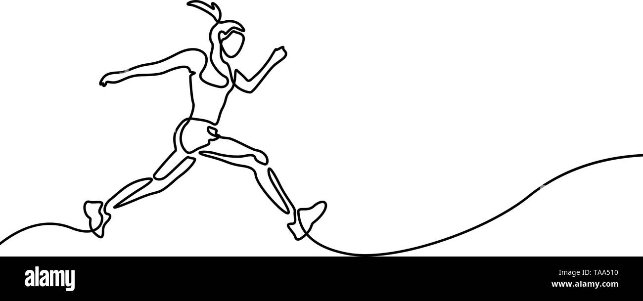 Continuous line drawing running woman , runner sport theme - Stock Image