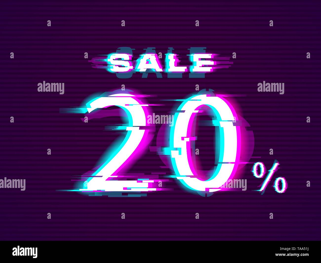 Glitched Sale up to 20 off. Distorted Glitch Style Modern Background - Stock Vector