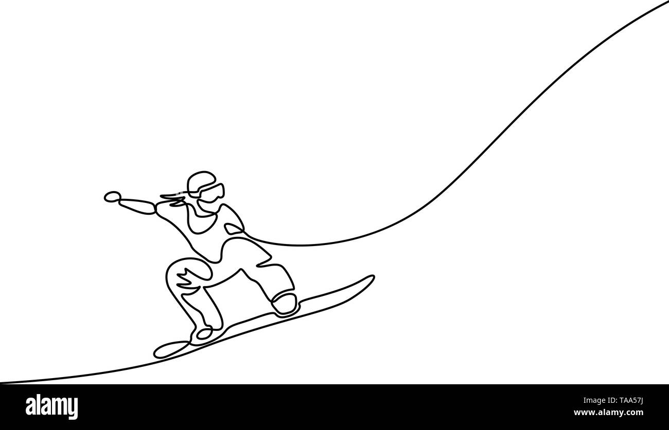 One continuous line drawing Snowboarder jumps. Dynamical illustration. Vector - Stock Vector