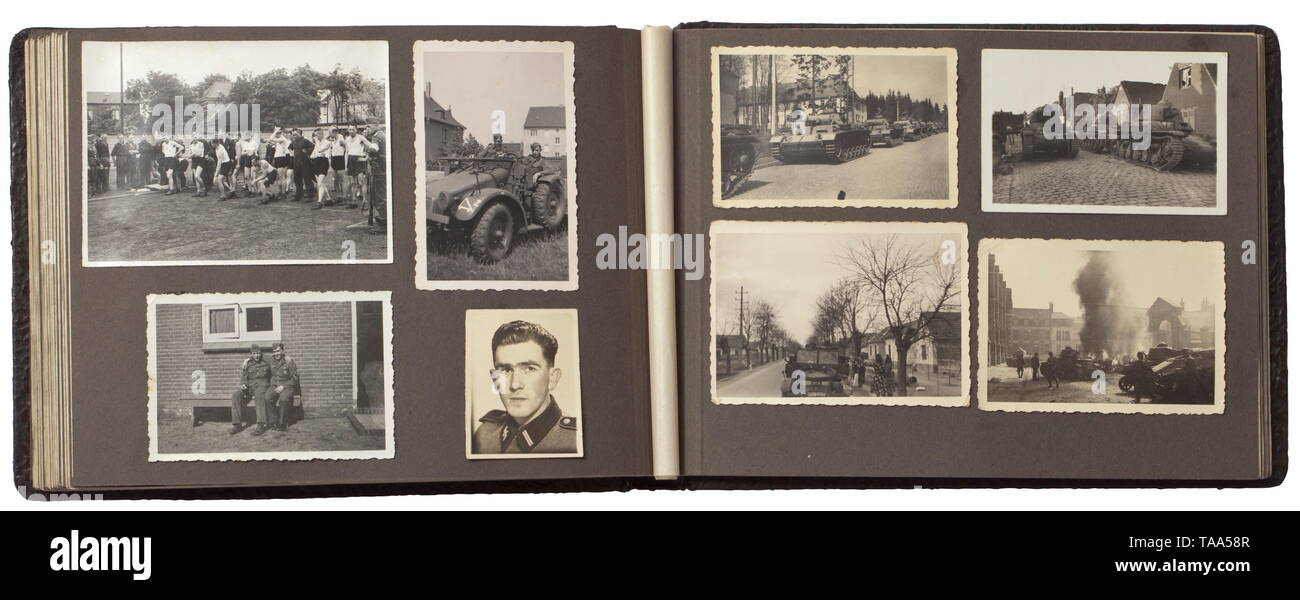 A photo album of an SS-Rottenführer in the Waffen-SS - marriage ceremony and campaign in France Album with a total of 84 images, including the marriage ceremony with an SS-Sturmmann as groomsman (a wearer of the Blood Order and Coburg Honour Badge), an SS-Untersturmführer and other comrades. The majority of the images show pledges, sports and the advance into France (tank and combat images, soldier's graves). Interesting contemporary documentation. historic, historical, 20th century, 1930s, 1940s, Waffen-SS, armed division of the SS, armed service, armed services, NS, Natio, Editorial-Use-Only Stock Photo