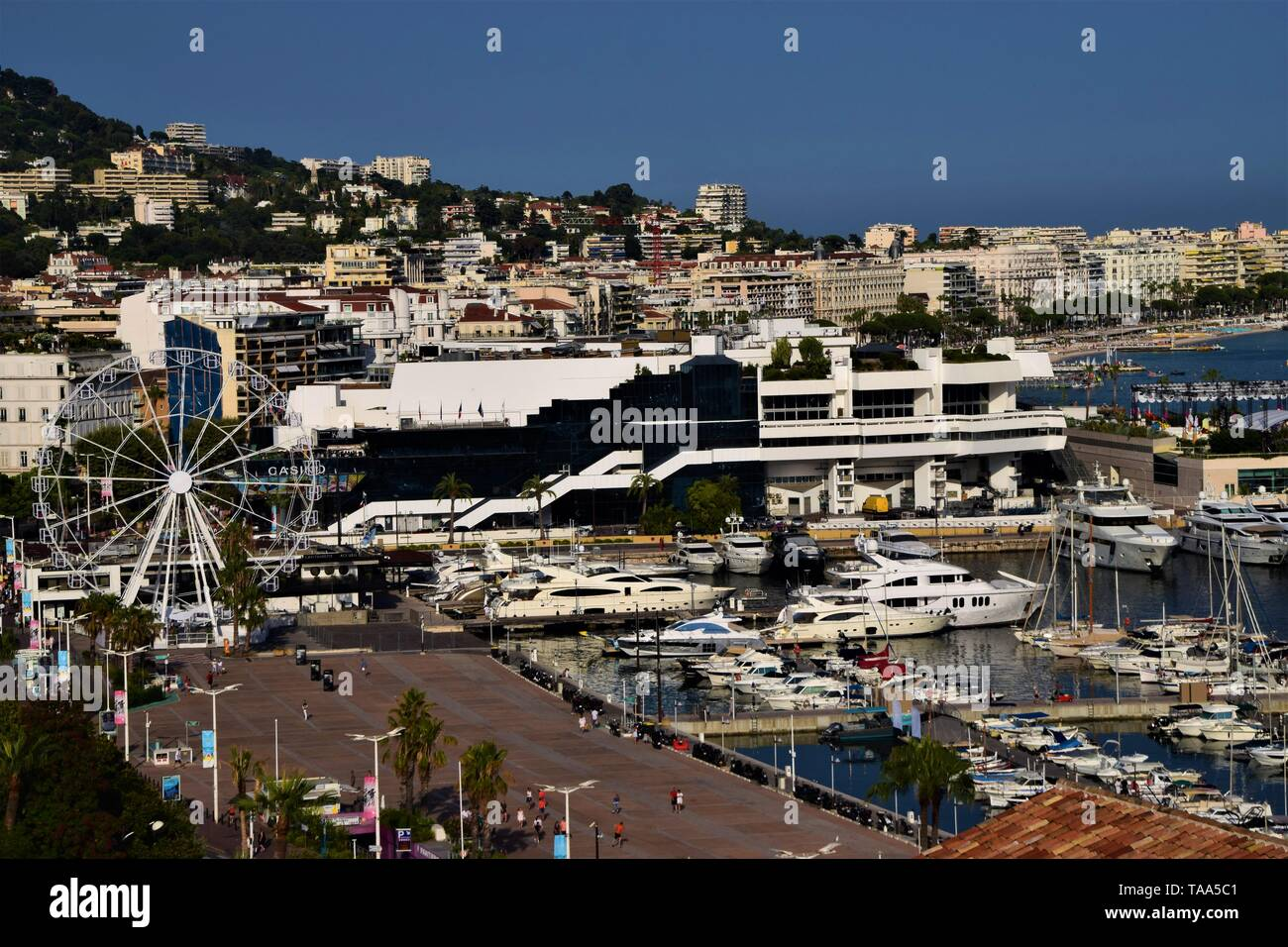 Cannes port Palais des Festivals Croisette yachts clear blue sky aerial view Stock Photo