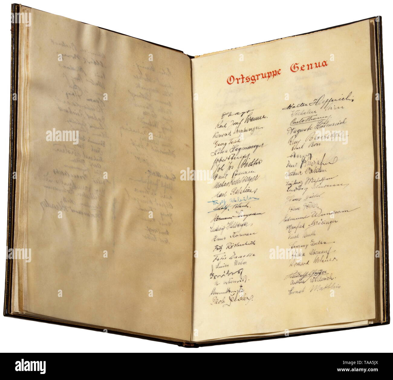 "Adolf Hitler - presentation volume for his visit in Italy 1938 Magnificent presentation volume with the signatures of all members of Local Groups Milan (334), Rome (184), Turino (82), Genoa (65), Merano (61), Naples (88), Venice (42), Trieste (28), Florence (40) etc, all together 1169 signatures on parchment. A calligraphic dedication on the flyleaf from the national group leaders, diplomatic envoys in Italy, and SS-Brigadeführer Erwin Ettel with a signature ""Ettel"" in his own hand. Dark-blue leather binding stamped in gold. In a red leather velvet lined presentation case (, Editorial-Use-Only Stock Photo"