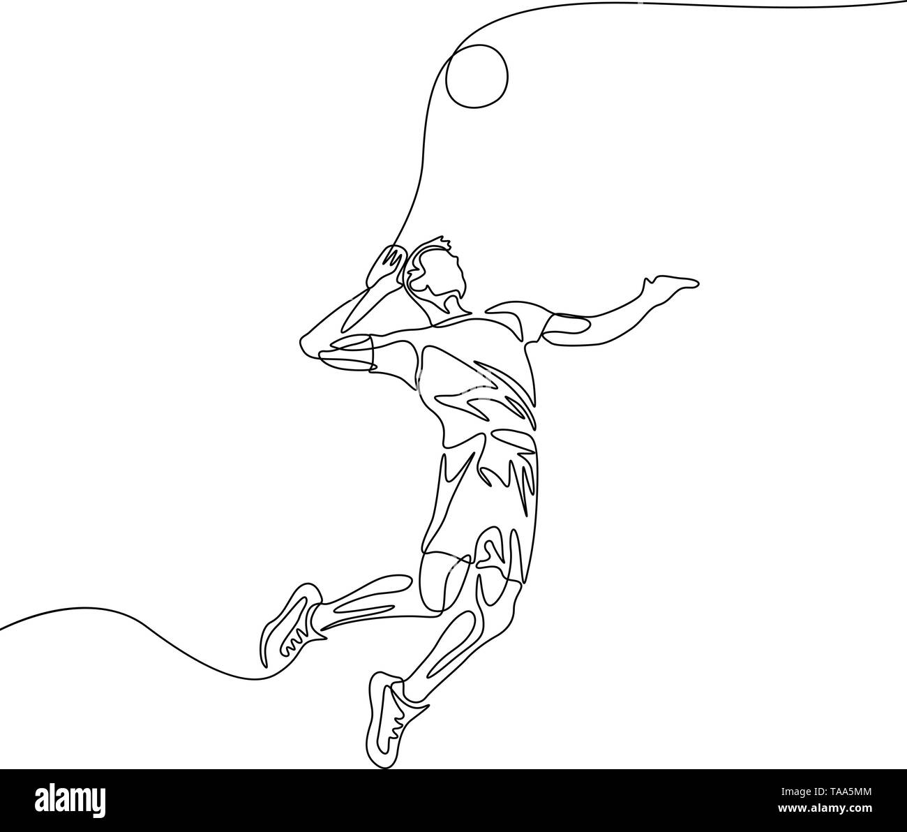 Continuous one line volleyball player man jumps to throw the ball - Stock Image