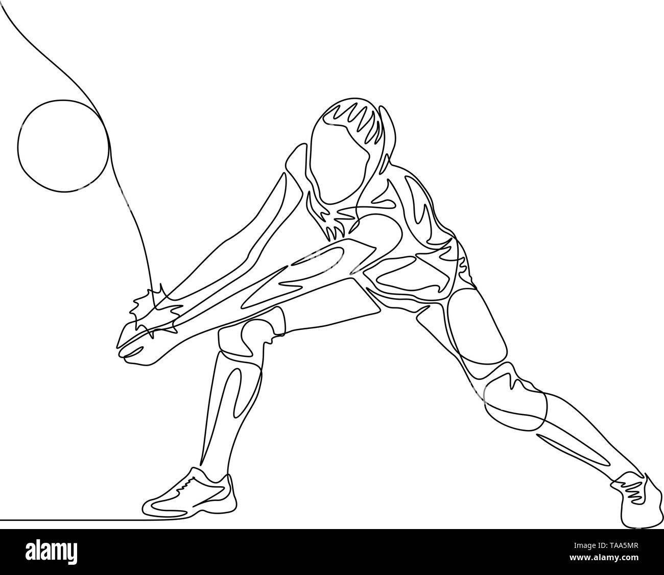 Continuous one line volleyball player woman hit the ball - Stock Image