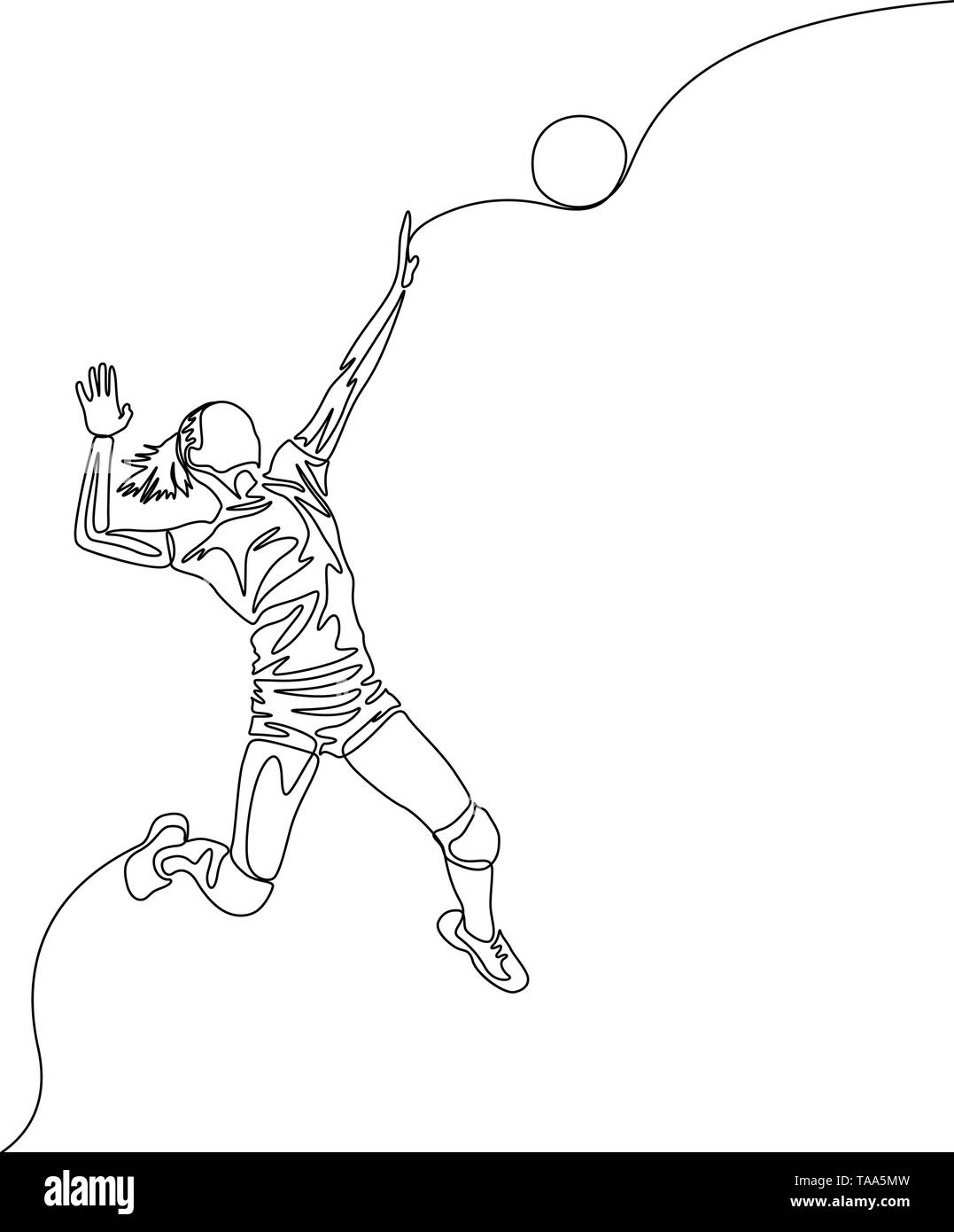 Continuous one line volleyball player woman jumps to throw the ball - Stock Image