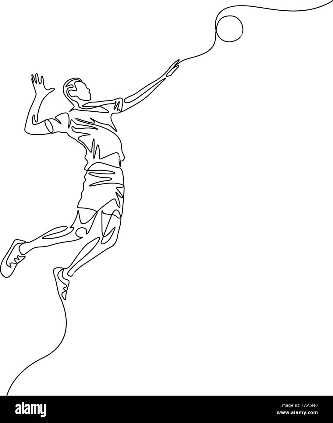 Continuous one line volleyball player jumps to throw the ball - Stock Image