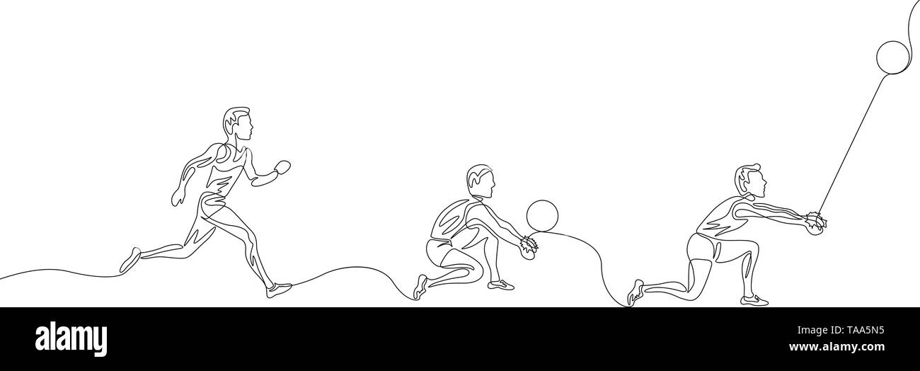 Continuous one line volleyball playerstep by step instruction for hitting the ball - Stock Image