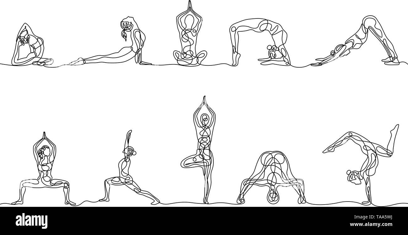 Continuous one line drawing set of woman yoga poses. Vector  - Stock Image