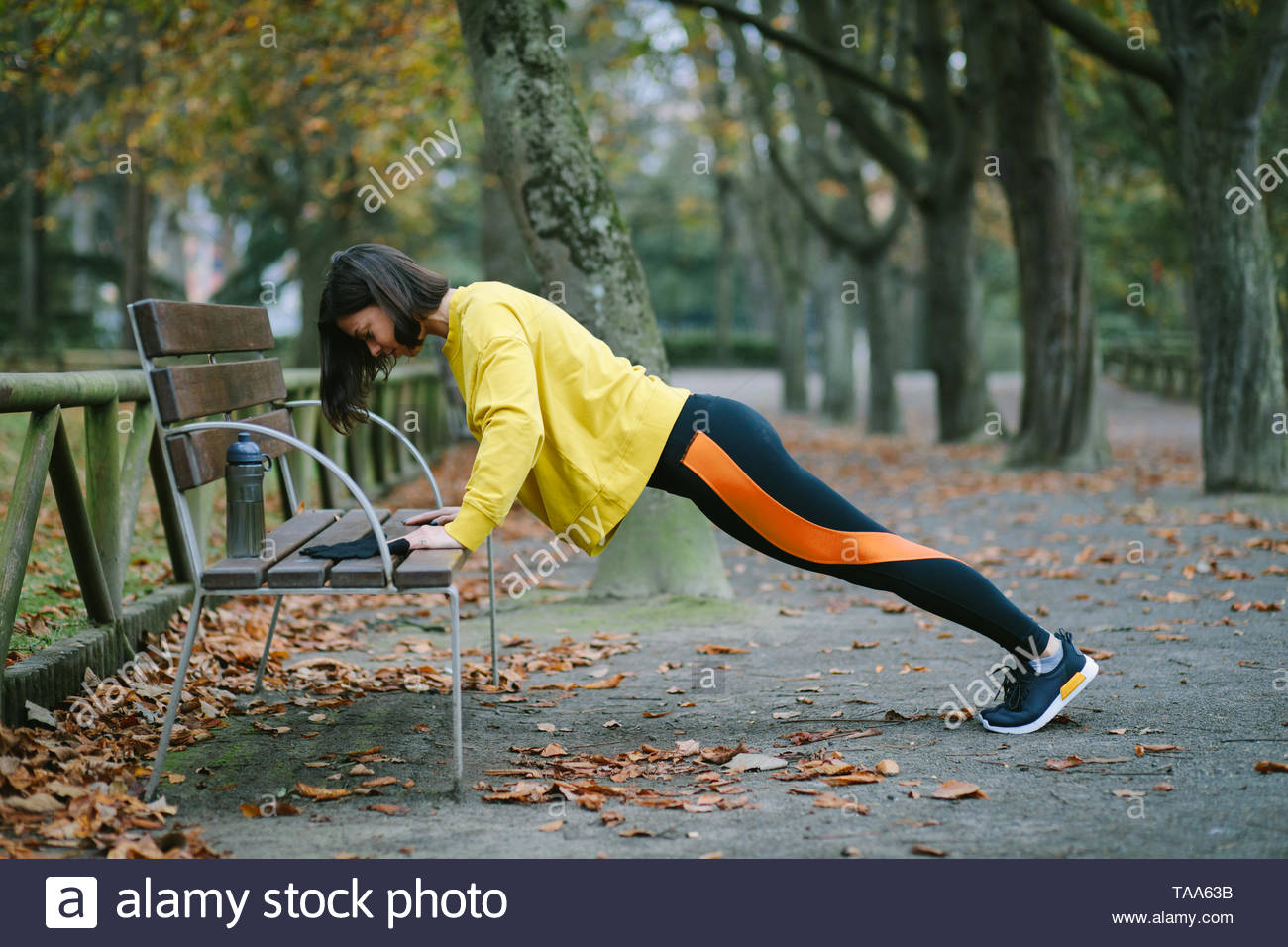 Female athlete doing bench push ups for strength workout at city park in autumn. Sporty woman training outdoor. - Stock Image
