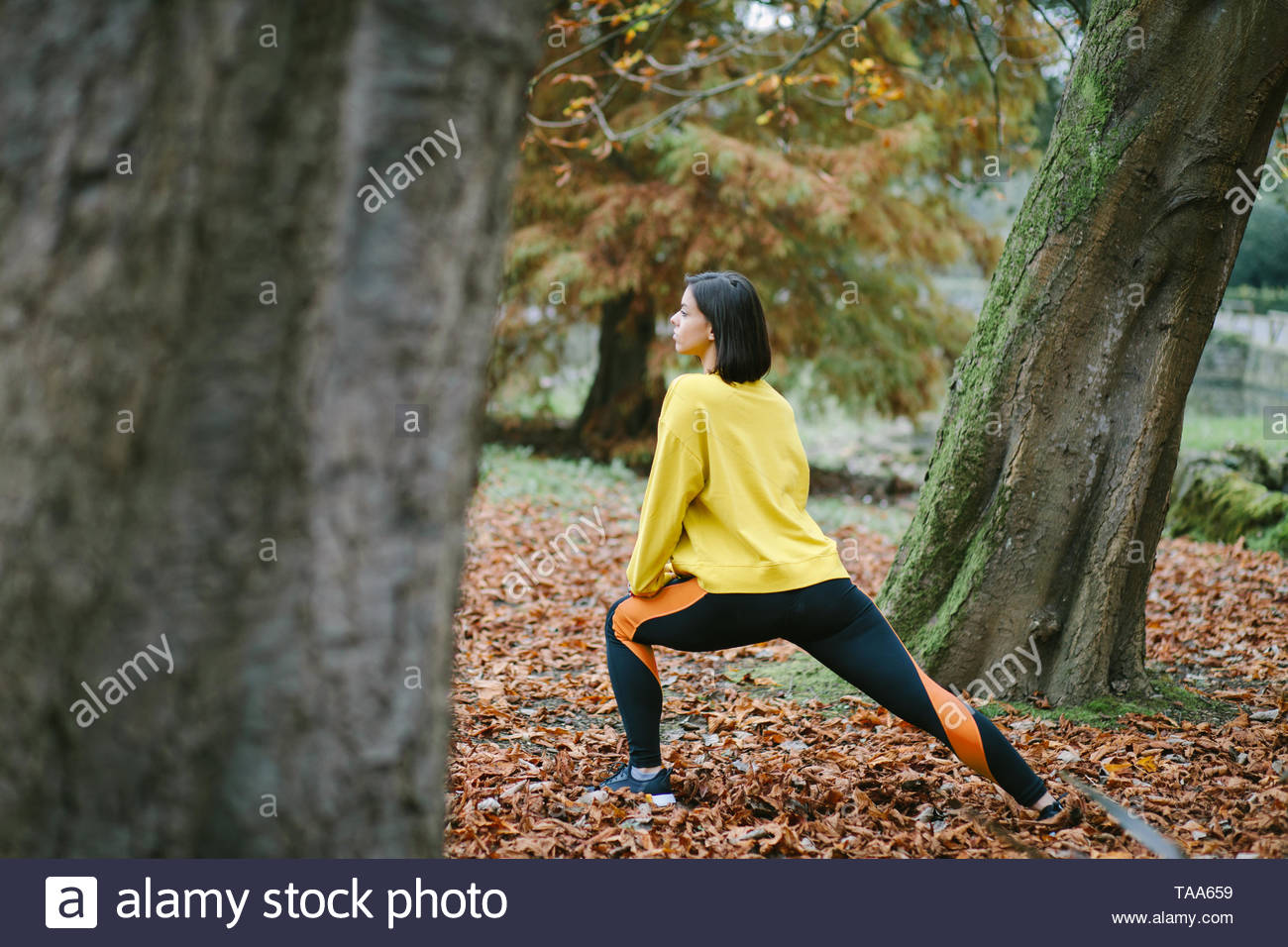 Female athlete stretching at city park in autumn. Sporty woman exercising outdoor. - Stock Image
