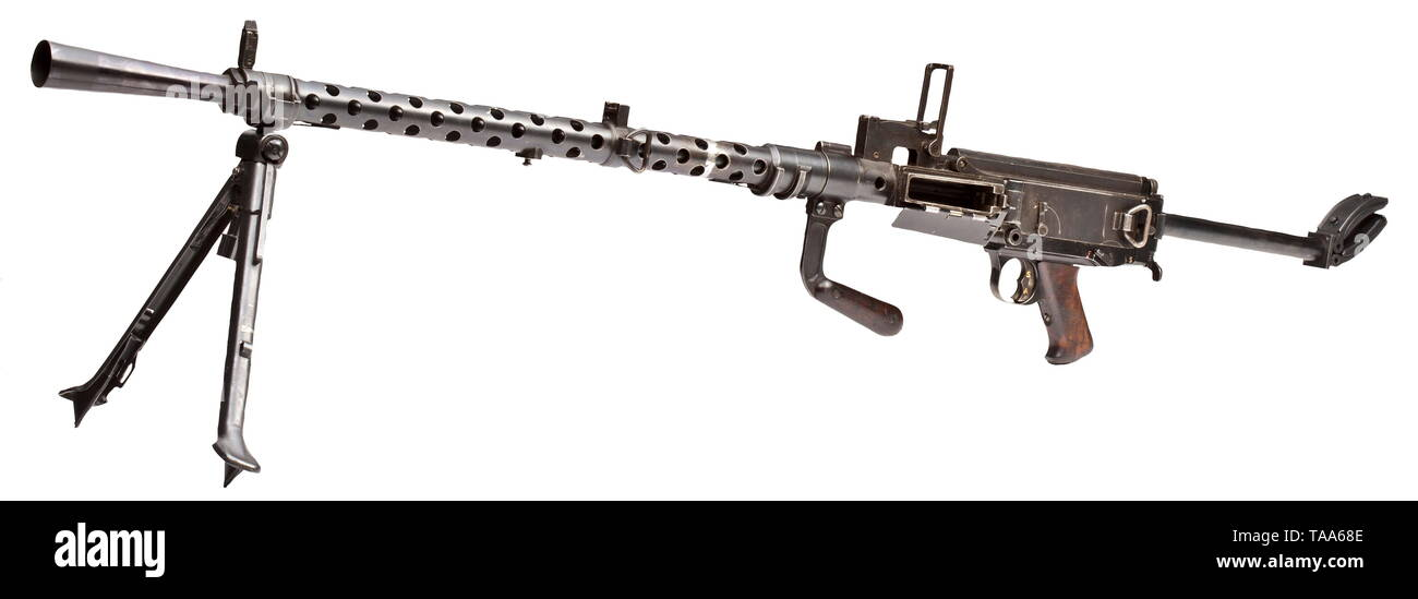 A Dreyse light machine gun Mod. 13 ('Metralhadora Dreyse m/938'), Portugal contract 1938, de-activated weapon Cal. 8 x 57. Muzzle flash hider. Bipod. Carrying handle. Foldable shoulder stock. 25-shot box magazine. On right side of receiver Portuguese coat of arms with year '1938'. Various acceptance marks eagle/WaA4. Complete original finish. Comes with blank-firing adapter and a magazine plate containing eight magazines. All parts moveable. Also used by Wehrmacht units during the second half of WW II. Certified modification. Length 146/120 cm. historic, historical, Portuga, Editorial-Use-Only - Stock Image