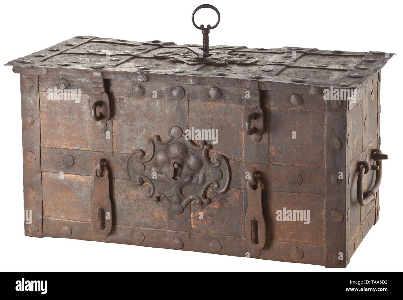 A German war chest, circa 1750 Rectangular body of sheet iron with banded fittings and a hinged lid, the front side with a sham lock with curved key plate and two drop bolts, laterally two movable carrying handles. The lid with a central keyhole, the lock plate with spring mounted shroud, original key, the lock housing with intact ward, locking mechanism with nine-fold latch. The original associated cover plate of sheet iron with original floral decor is laid in loose. Dimensions 38 x 77 x 40 cm. historic, historical, handicrafts, handcraft, craf, Additional-Rights-Clearance-Info-Not-Available - Stock Image