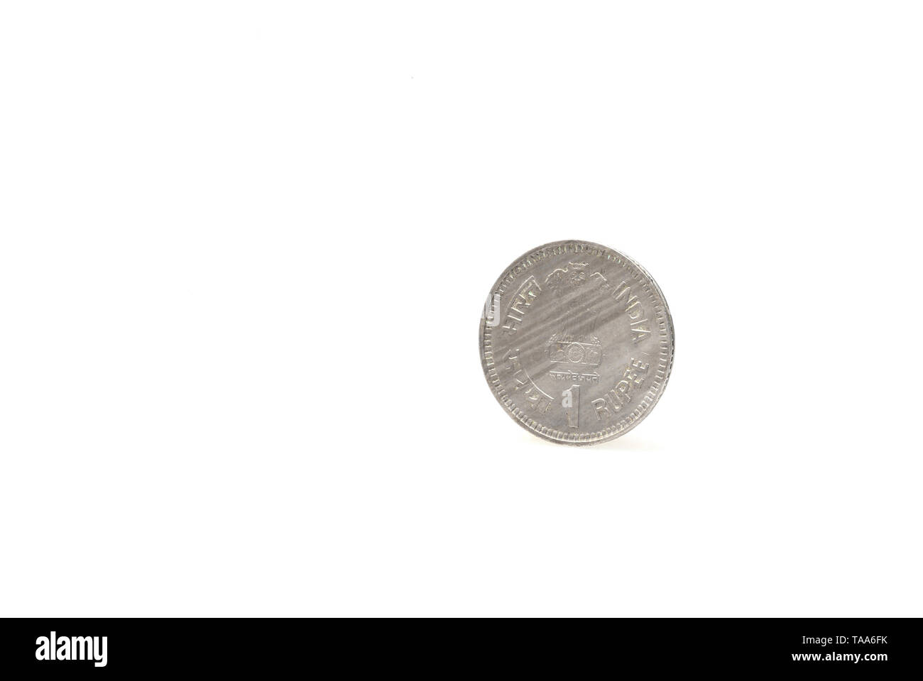 one rupee coin on white background, India, Asia, 1989 - Stock Image