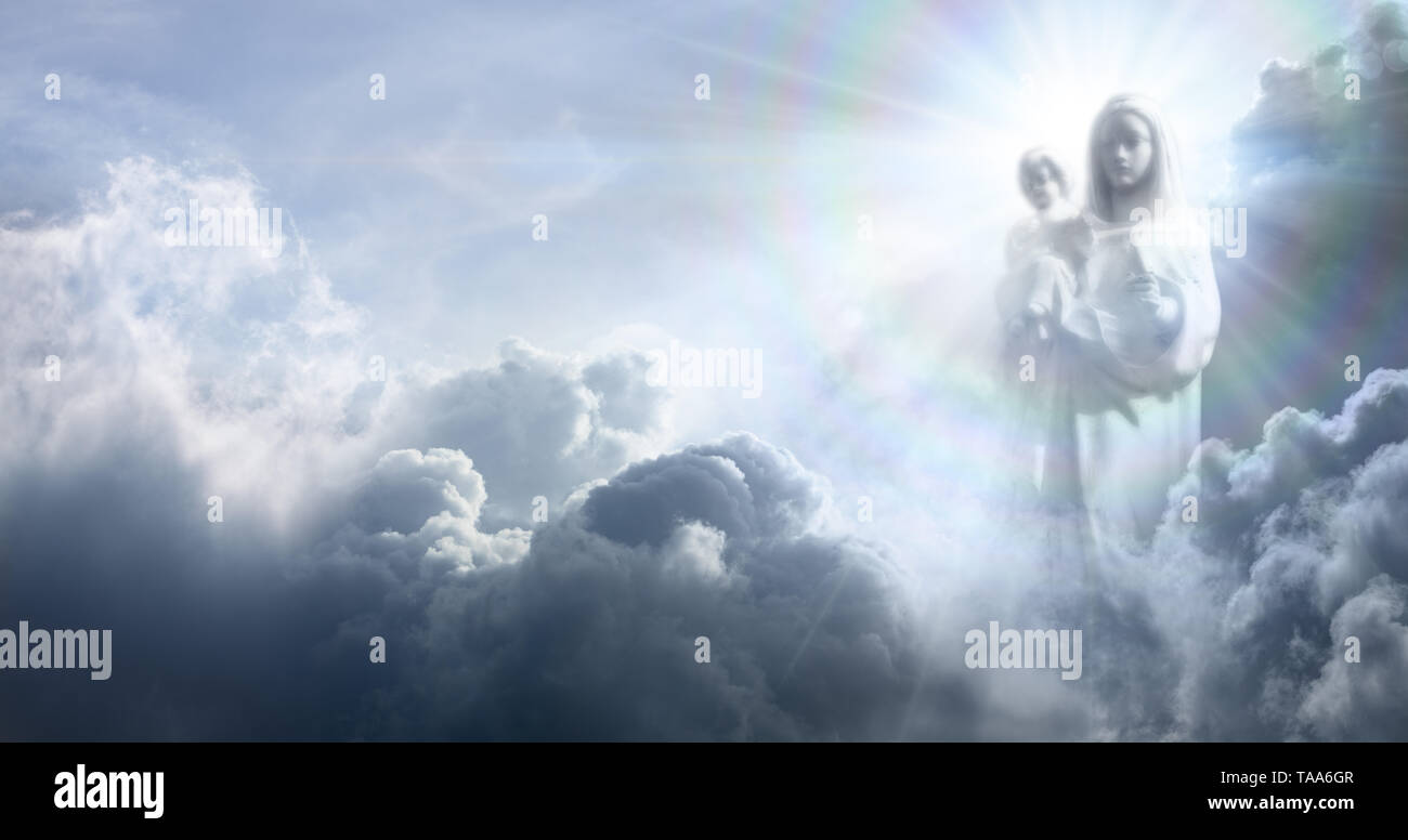 Apparition Of The Virgin Mary And Baby Jesus In The Clouds Stock Photo -  Alamy