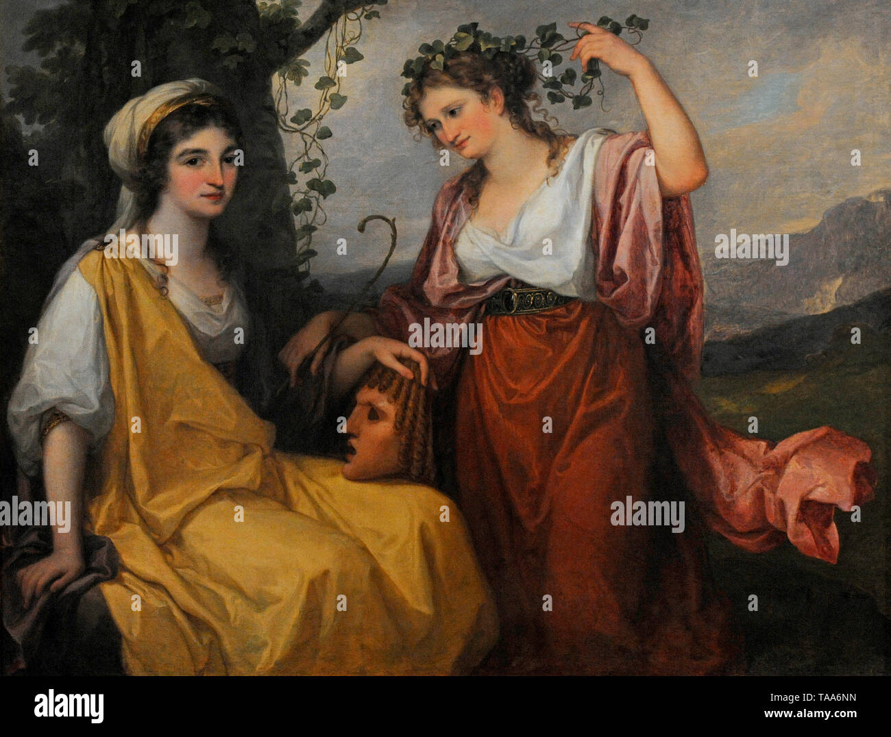 Angelica Kauffmann (1741-1807). Swiss Neoclassical painter. Portrait of Domenica Morghen and Maddalena Volpato as Muse of Tragedy and Muse of Comedy, 1791. National Museum. Warsaw. Poland. - Stock Image